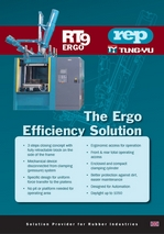 RT9ERGO product flyer: ergonomic rubber machinery with lowered working height